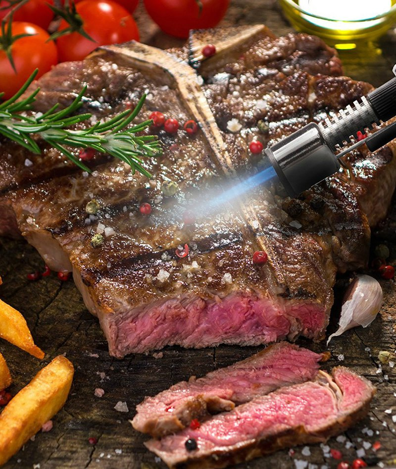 Sear steak with cooking torch